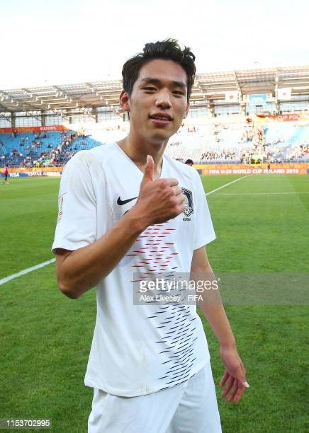 Sehun Oh of Korea Republic poses for a photograph following the 2019 FIFA U20 World Cup Round of 16 match between Japan and Korea Republic at Arena...