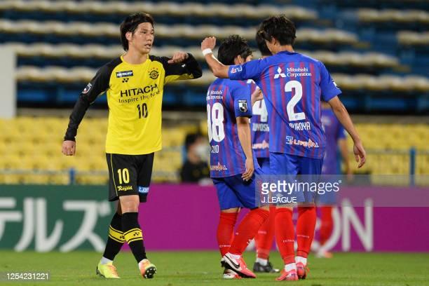 Sei Muroya of FC Tokyo and Ataru Esaka of Kashiwa Reysol elbow bump after the J.League Meiji Yasuda J1 match between Kashiwa Reysol and FC Tokyo at...