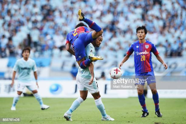 Sei Muroya of FC Tokyo and Kengo Kawamata of Jubilo Iwata compete for the ball during the J.League J1 match between FC Tokyo and Jubilo Iwata at...