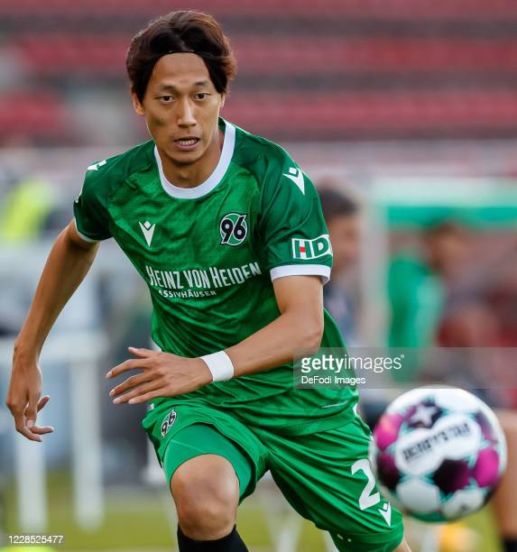 Sei Muroya of Hannover 96 controls the ball during the DFB Cup first round match between Würzburger Kickers and Hannover 96 at flyeralarm Arena on...