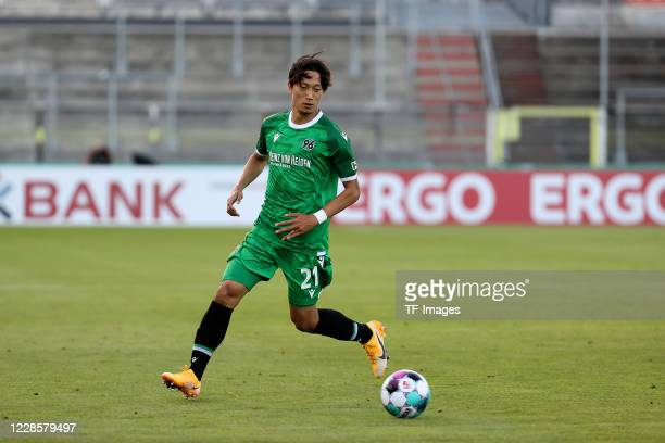 Sei Muroya of Hannover 96 during the DFB Cup first round match between FC Wuerzburger Kickers and Hannover 96 at Flyeralarm Arena on September 14,...