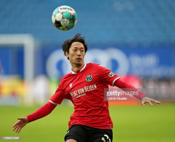 Sei Muroya of Hannover 96 in action during the Second Bundesliga match between Hamburger SV and Hannover 96 at Volksparkstadion on December 05, 2020...