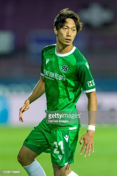 Sei Muroya of Hannover 96 looks on during the Second Bundesliga match between VfL Osnabrueck and Hannover 96 at Stadion an der Bremer Bruecke on...
