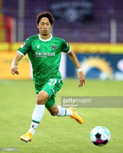 Sei Muroya of Hannover runs with the ball during the Second Bundesliga match between VfL Osnabrück and Hannover 96 at Stadion an der Bremer Brücke on...