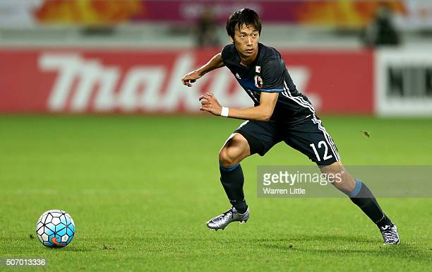 Sei Muroya of Japan in action during the AFC U-23 Championship semi final match between Japan and Iraq at the Abdullah Bin Khalifa Stadium on January...