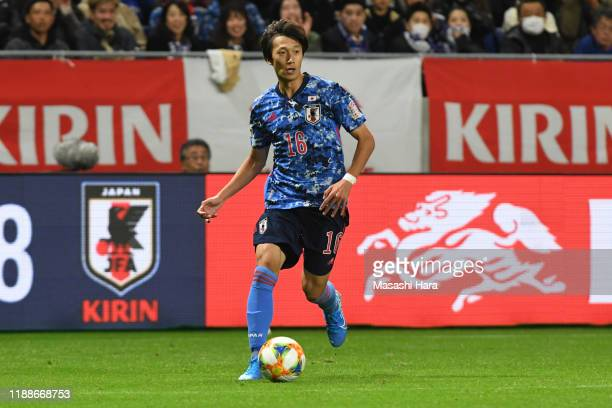 Sei Muroya of Japan in action during the international friendly match between Japan and Venezuela at the Panasonic Stadium Suita on November 19, 2019...