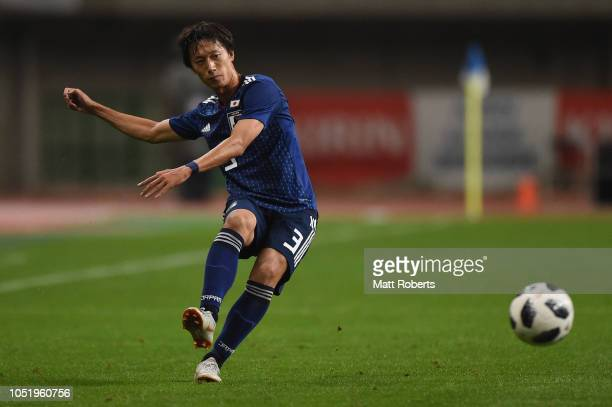 Sei Muroya of Japan passes the ball during the international friendly match between Japan and Panama at Denka Big Swan Stadium on October 12, 2018 in...