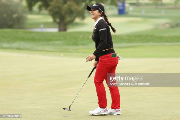 Sei Young Kim of Korea celebrates on the 18th green after winning the 2020 KPMG Women's PGA Championship at Aronimink Golf Club on October 11, 2020...