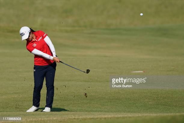 Sei Young Kim of Korea chips to the second hole during the Third Round of the Volunteers of America Classic golf tournament at the Old American Golf...