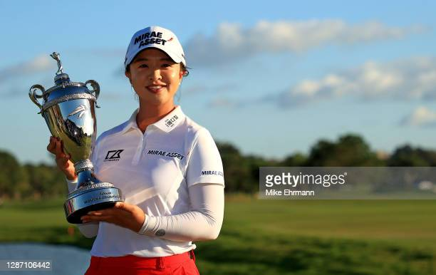 Sei Young Kim of Korea poses with the trophy after winning the Pelican Women's Championship at Pelican Golf Club on November 22, 2020 in Belleair,...