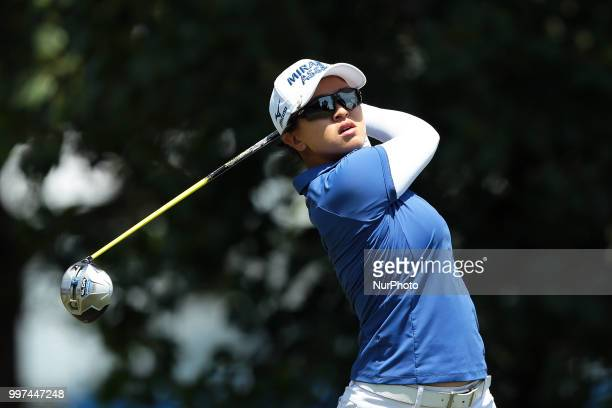 Sei Young Kim of Korea tees off on the third tee during the first round of the Marathon LPGA Classic golf tournament at Highland Meadows Golf Club in...