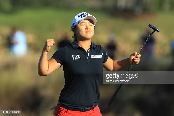 Sei Young Kim of South Korea celebrates after making a putt on the 18th green to win the CME Group Tour Championship at Tiburon Golf Club on November...