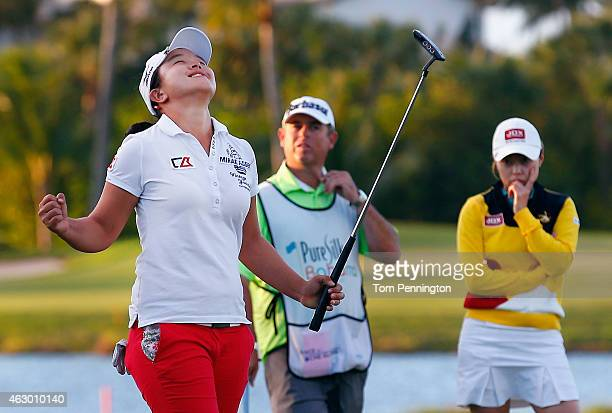 Sei Young Kim of South Korea celebrates after winning the Pure Silk Bahamas LPGA Classic at the Ocean Club course on February 8 2015 in Paradise...