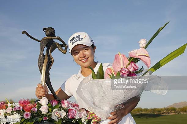 Sei Young Kim of South Korea celebrates with the trophy after winning the LPGA JTBC Founders Cup at Wildfire Golf Club on March 20 2016 in Phoenix...