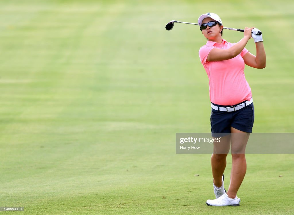 Sei Young Kim of South Korea hits a second shot on the 13th hole during the second round of the LPGA LOTTE Championship at the Ko Olina Golf Club on April 12, 2018 in Kapolei, Hawaii.