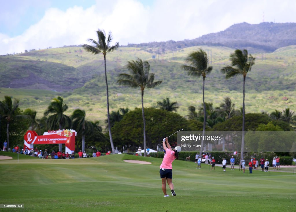 Sei Young Kim of South Korea hits a second shot on the ninth fairway during the second round of the LPGA LOTTE Championship at the Ko Olina Golf Club on April 12, 2018 in Kapolei, Hawaii.