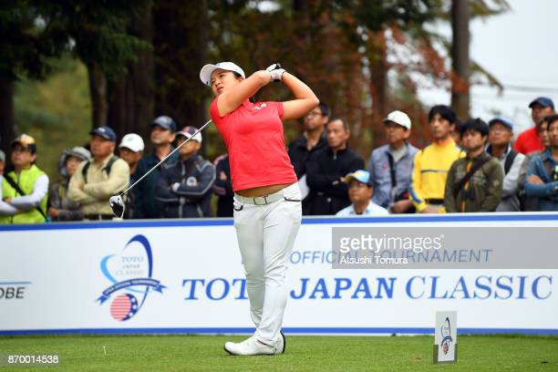 Sei Young Kim of South Korea hits her tee shot on the 18th hole during the second round of the TOTO Japan Classics 2017 at the Taiheiyo Club Minori...