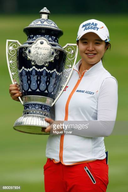 Sei Young Kim of South Korea holds the trophy after winning the final round of the Citibanamex Lorena Ochoa Match Play Presented by Aeromexico and...