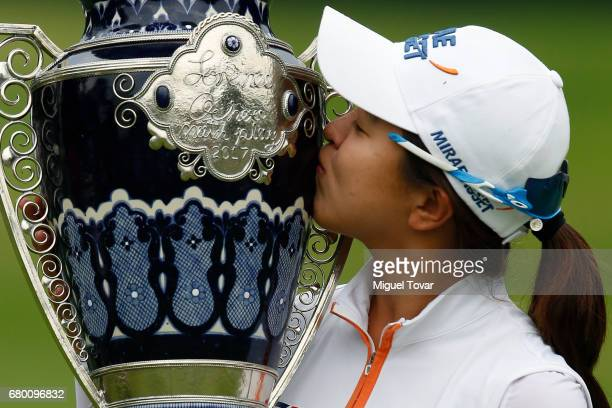Sei Young Kim of South Korea kisses the trophy after winning the final round of the Citibanamex Lorena Ochoa Match Play Presented by Aeromexico and...