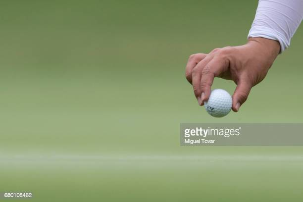 Sei Young Kim of South Korea places her ball during the final round of the Citibanamex Lorena Ochoa Match Play Presented by Aeromexico and Delta at...