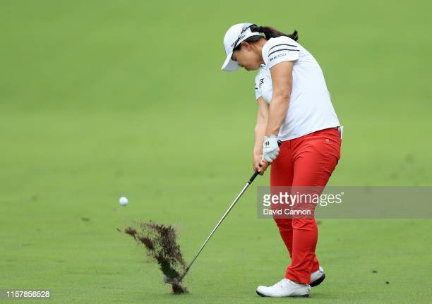 Sei Young Kim of South Korea plays her second shot on the par 4 14th during the final round of the 2019 KPMG Women's PGA Championship at Hazeltine...