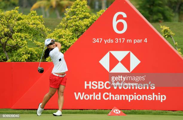 Sei Young Kim of South Korea plays her shot from the sixth tee during the final round of the HSBC Women's World Championship at Sentosa Golf Club on...