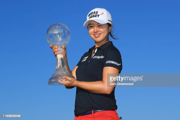 Sei Young Kim of South Korea poses with the trophy after winning the CME Group Tour Championship at Tiburon Golf Club on November 24 2019 in Naples...