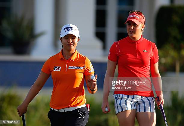 Sei Young Kim of South Korea reacts after her double bogey on the 16th green during the third round of the Pure Silk Bahamas LPGA Classic at the...