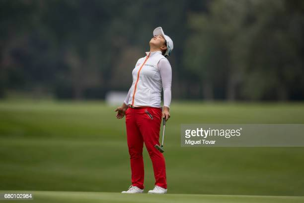 Sei Young Kim of South Korea reacts after missing a putt during the final round of the Citibanamex Lorena Ochoa Match Play Presented by Aeromexico...