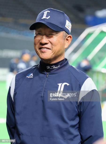 Seibu Lions manager Hatsuhiko Tsuji speaks to reporters at Sapporo Dome in Hokkaido on March 29 2018 ==Kyodo