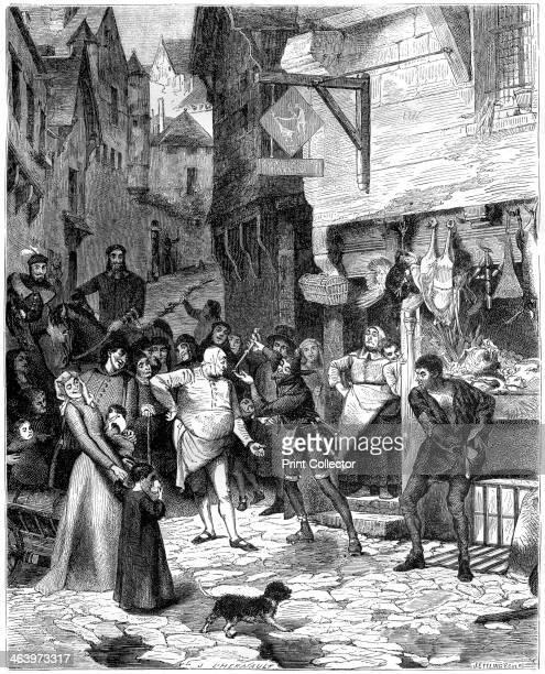 Seigni Joan rue de Petit Chastelet 14th century A jester entertaining a crowd on a street outside a butcher's shop A print from La France et les...