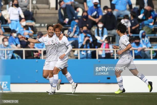 Seigo KOBAYASHI of Oita Trinita & #13 Kohei ISA of Oita Trinita celebrates scoring his side's second goal during the J.League Meiji Yasuda J1 match...