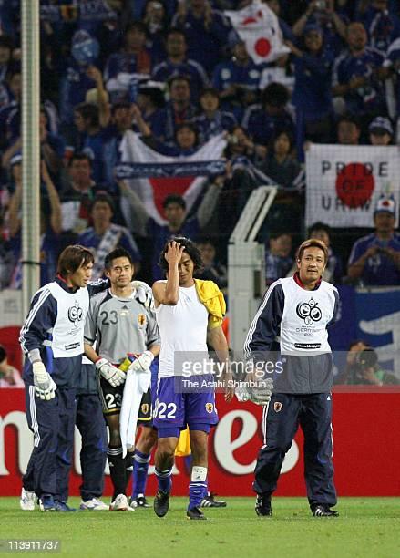 Seigo Narasaki, Yoshikatsu Kawaguchi, Yuji Nakazawa and Yoichi Doi of Japan leave the pitch after the FIFA 2006 World Cup Group F match between...