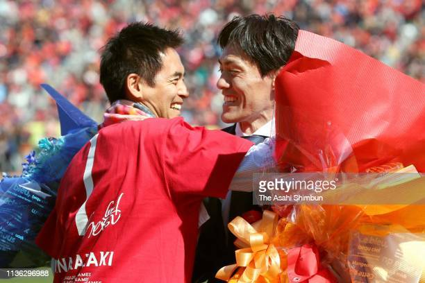 Seigo Narazaki attends his retirement ceremony with Yoshikatsu Kawaguchi after the JLeague J1 match between Nagoya Grampus and Cerezo Osaka at Paloma...