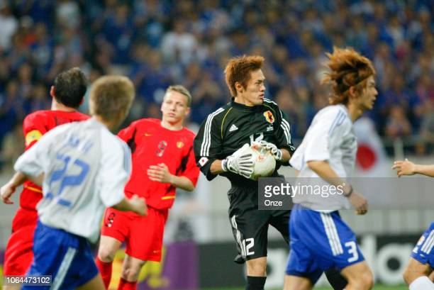 Seigo Narazaki of Japan during the World Cup match between Japan and Belgium in Saitama Stadium in Saitama Japan on June 4th 2002