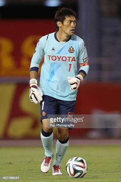 Seigo Narazaki of Nagoya Grampus in action during the J. League match between Nagoya Grampus and Yokohama F.Marinos at Mizuho Stadium on July 27,...