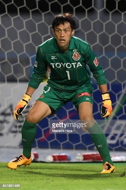 Seigo Narazaki of Nagoya Grampus looks on during the J.League J2 match between Mito Hollyhock and Nagoya Grampus at K's Denki Stadium on September 2,...