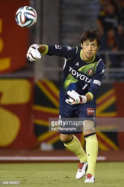 Seigo Narazaki of Nagoya Grampus throws the ball during the J. League match between Nagoya Grampus and Albirex Niigata at Mizuho Stadium on September...