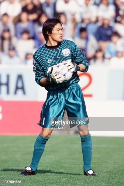 Seigo Narazaki of Yokohama Flugels in action during the J.League first stage match between Jubilo Iwata and Yokohama Flugels at the Jubilo Iwata...