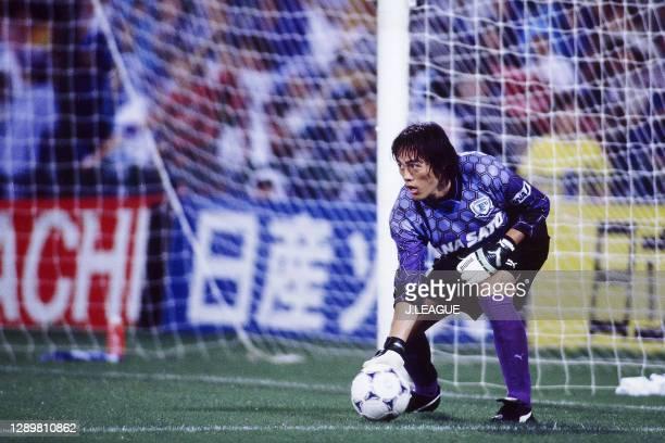 Seigo Narazaki of Yokohama Flugels in action during the J.League first stage match between Kashiwa Reysol and Yokohama Flugels at the Hitachi Kashiwa...