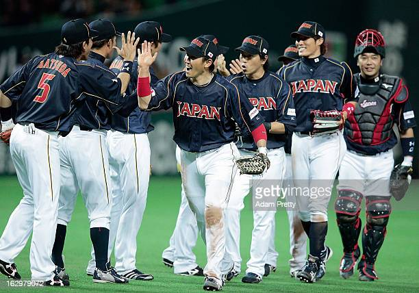 Seiichi Uchikawa celebrates after victory in the World Baseball Classic First Round Group A game between Brazil and Japan at Fukuoka Yahoo Japan Dome...