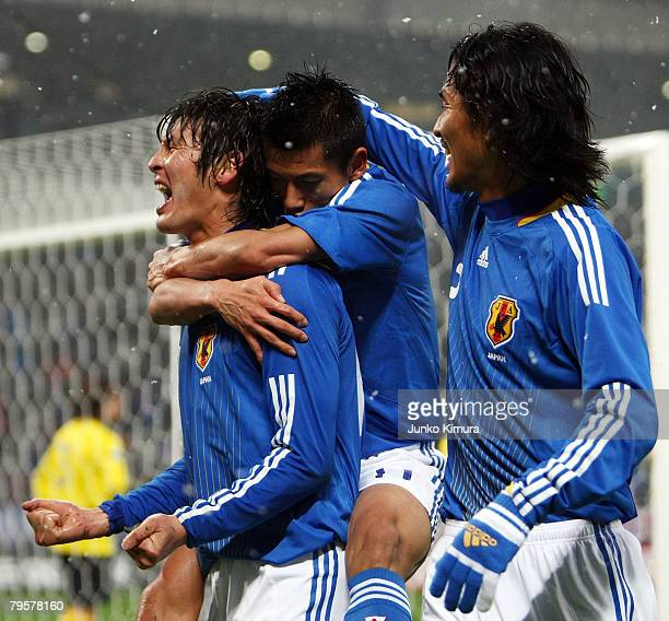 Seiichiro Maki of Japan celebrates after scoring during the 2010 FIFA World Cup Asia 3rd preliminary round match between Japan and Thailand at...