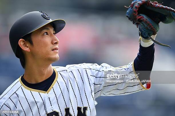 Seiji Kobayashi of SAMURAI JAPAN in action during the Japan national baseball team practice session at the QVC on November 8 2016 in Tokyo Japan