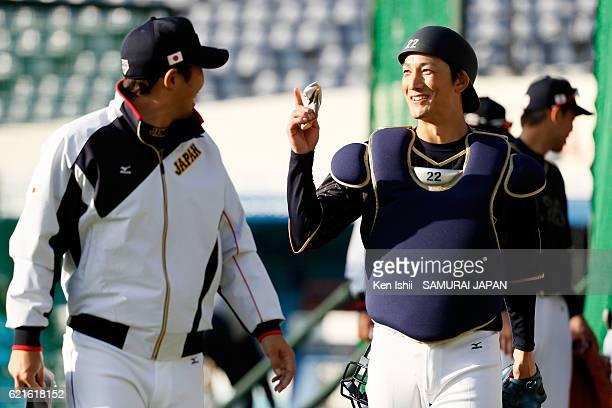Seiji Kobayashi of Samurai Japan talks during the Japan national baseball team practice session at the QVC on November 7 2016 in Tokyo Japan