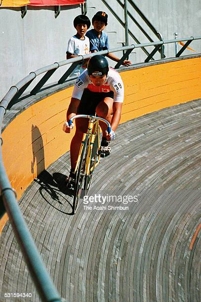 Seiko Hashimoto of Japan competes in the Cycling Women's Sprint during the Seoul Summer Olympic Games at the Olympic Velodrome on September 21, 1988...