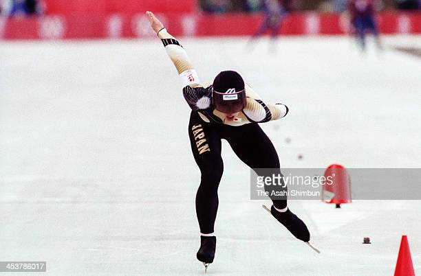 Seiko Hashimoto of Japan competes in the Speed Skating Women's 1,500 Metres during the Albertville Olympic on February 12, 1992 in Albertville,...