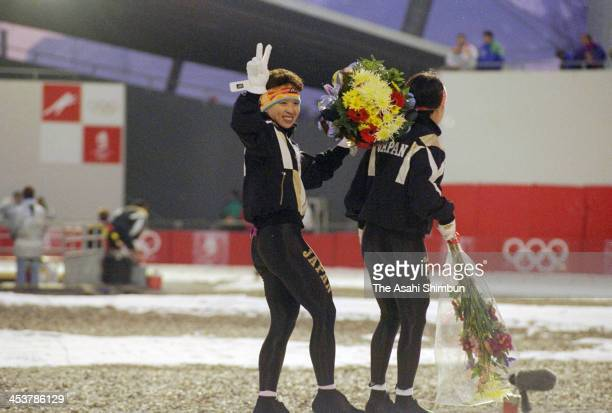 Seiko Hashimoto of Japan reacts after competing in the Speed Skating Women's 5000 Metres during the Albertville Olympic on February 17 1992 in...