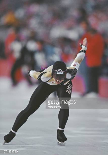 Seiko Hashimoto of Japan skates in the Women's 1500 metres Speed Skating event on 12 February 1992 during the XVI Olympic Winter Games at the...