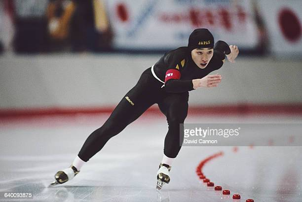 Seiko Hashimoto of Japan skates in the Womens 3000m speed skating competition on 23 February 1988 during the XV Olympic Winter Games at the Olympic...