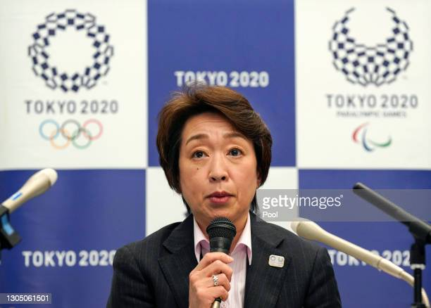 Seiko Hashimoto, President of the Tokyo 2020 Organising Committee of the Olympic and Paralympic Games , attends a media huddle on March 3, 2021 in...